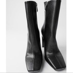 Zara Faux Snakeskin Square Toe Ankle Boots. 41